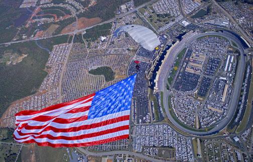 nascar, skydive, professional racing, american flag