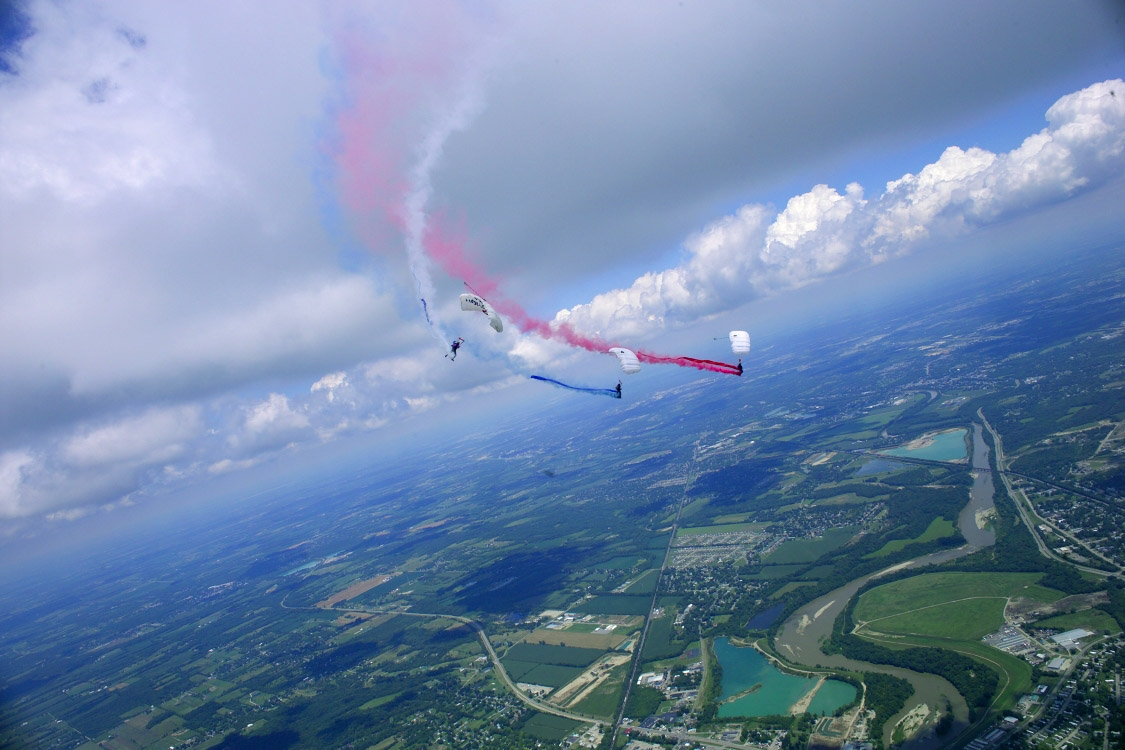 smoke show, football event, baseball opening, air show event