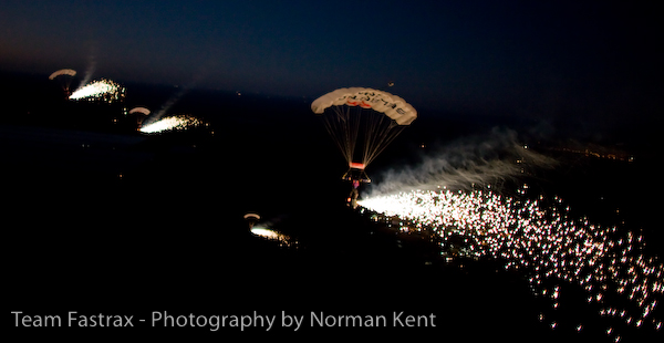 pyrotechnic skydive, baseball event, football event, fireworks show