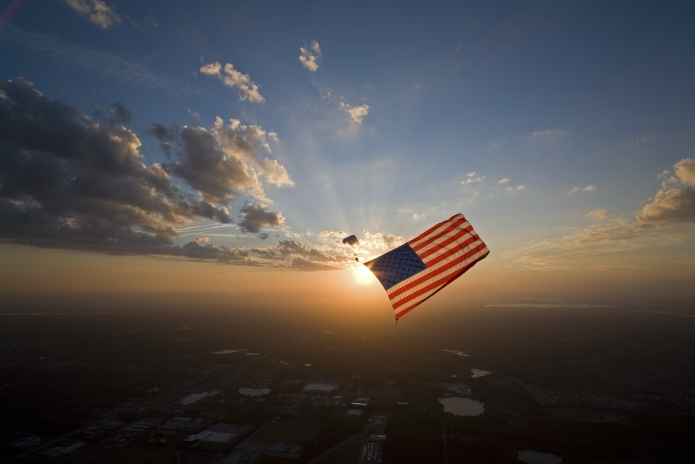 7800sf flag at sunset.