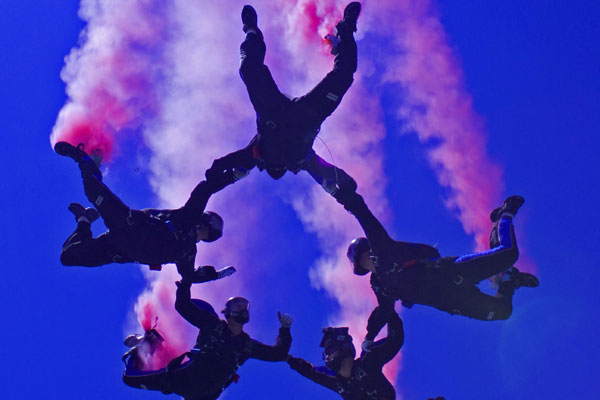 smoke show, football event, baseball opening, air show event