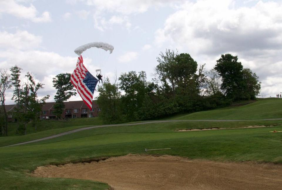 patriotic event, charity event, american flag, skydive, golf event