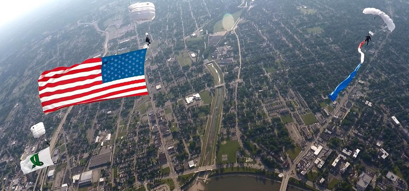 patriotic event, veteran event, charity event, american flag, skydive, flag show