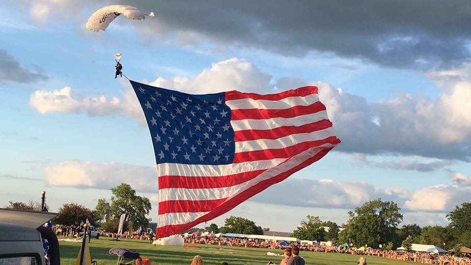 patriotic event, charity event, american flag, skydive