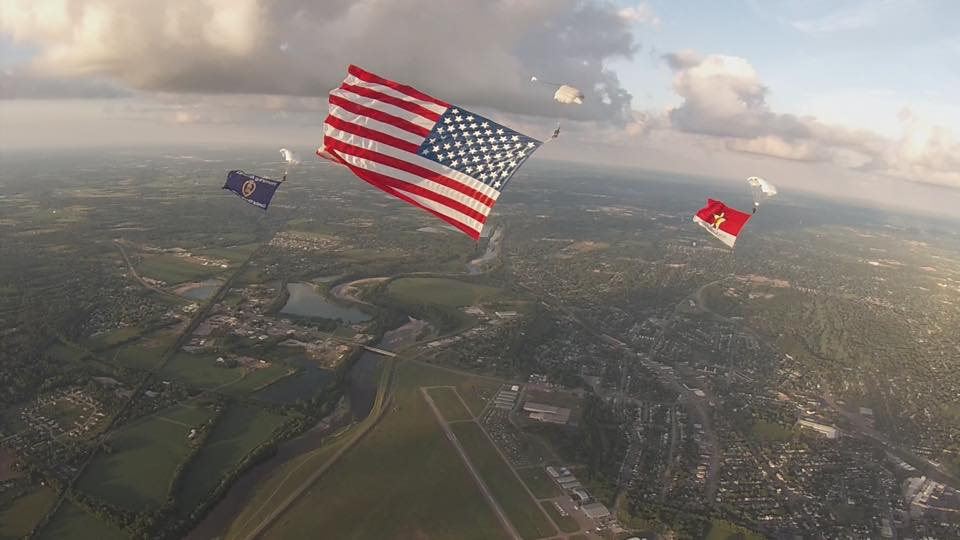 patriotic event, veteran event, charity event, american flag, skydive