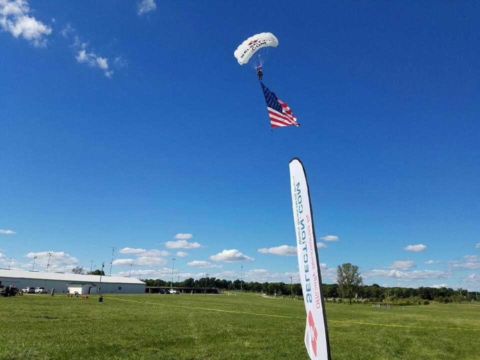 american flag, skydive
