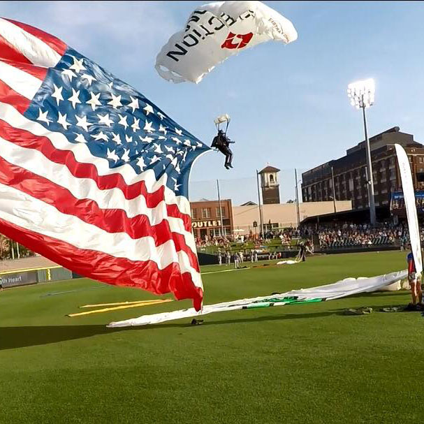 football event, baseball opening, american flag, flag show, skydive