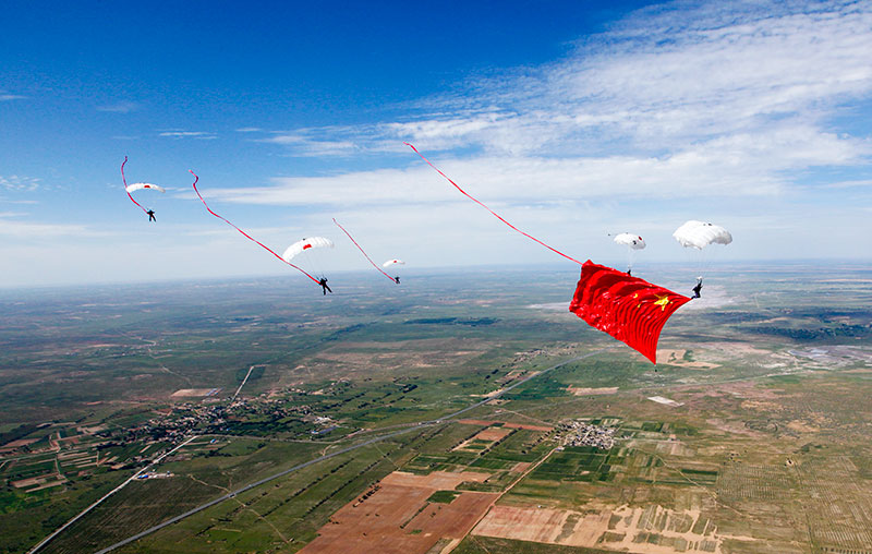 airshow event, skydive, flag